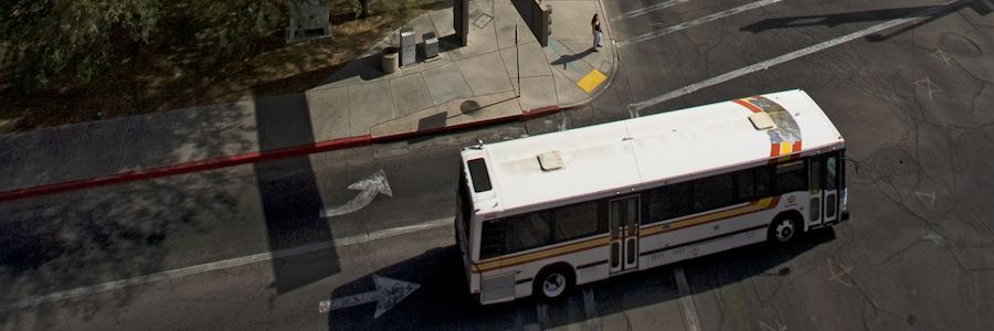 Arial view of city bus