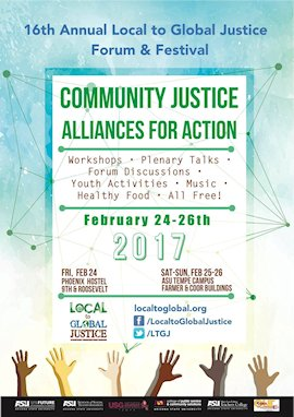 2017 Local to Global Justice Forum and Festival program cover