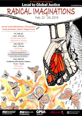 2019 Local to Global Justice Forum and Festival poster